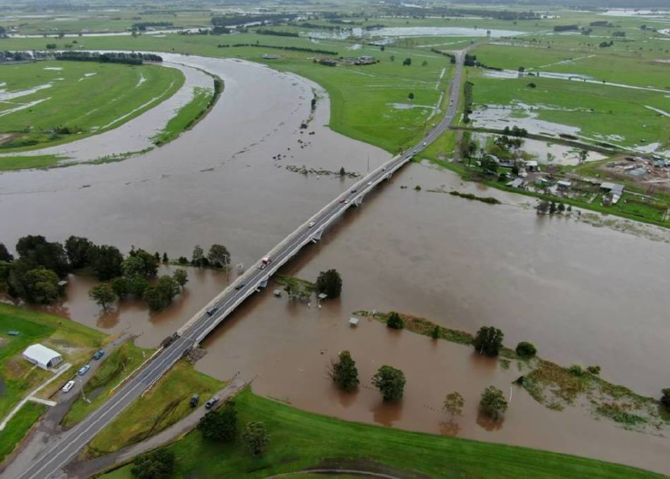 WATER LOGGED: An aerial view of flooding at the Fitzgerald Bridge in Raymond Terrace, looking north towards Seaham. Picture: Supplied