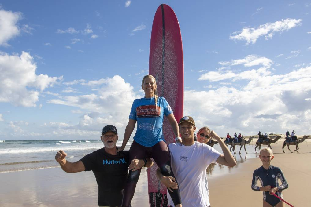 CHAMPION: Corlette surfer Suellen Goyne claimed two 2021 NSW Longboard State Titles at Birubi Beach on the weekend. Picture: Josh Brown/Surfing NSW