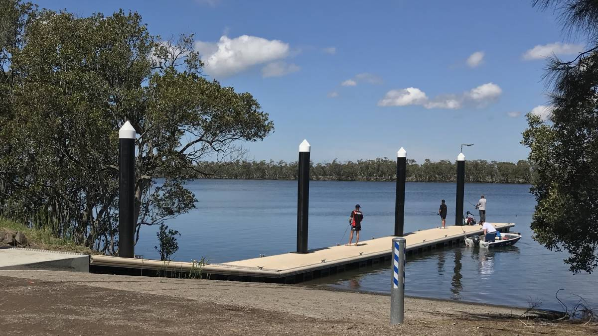 The new-look Tomago boat ramp. RMS and Port Stephens Council contributed $250,000 to install an on-ramp pontoon.