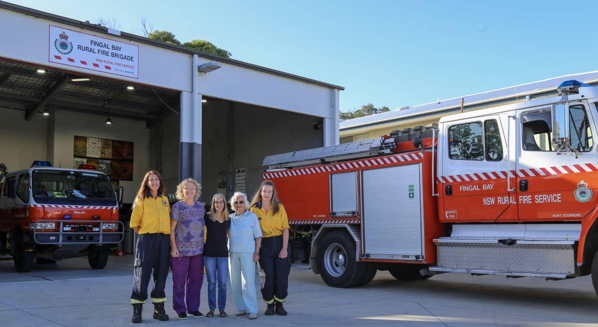 LADIES TO THE FRONT: Current and former Fingal Bay Rural Fire Brigade members, from left, Cas Schmitzer, Kerrin Millington, Sandy Nunn, Vera Sosso, Kaitlyn Taylor. Picture: Ellie-Marie Watts
